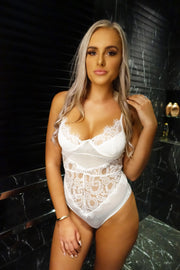 Lace Me Up Bodysuit In White