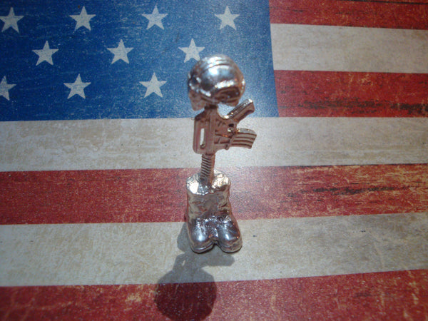 Fallen Soldier Battle Cross 1 oz 999 Fine Silver Hand Poured Bullion Figurine
