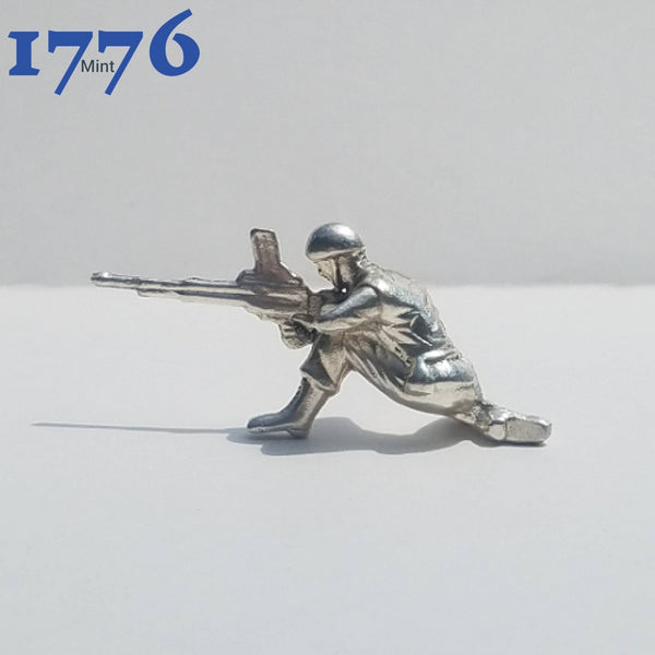 1 Oz 999 Silver Hand Poured Bullion Kneeling Machine Gunner Army Man Silver Army Men