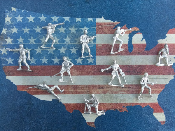 Classic army men/soldiers set of 10 Sterling Silver .925
