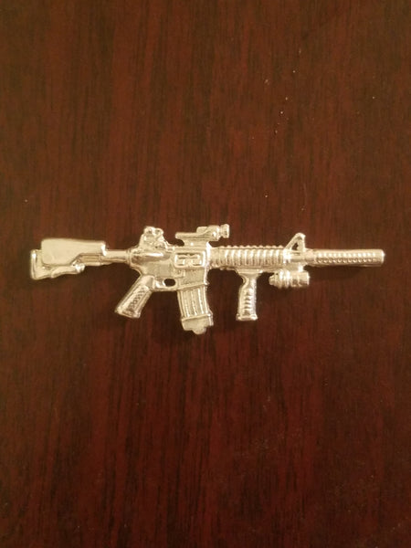 AR Tactical Assault Rifle Hand Poured Sterling Silver .925