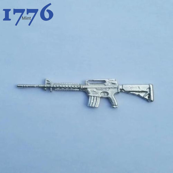 3.5 Long Solid .999 Fine 25G Silver M-16 Ar-15 Tactical Assault Rifle Hand Poured