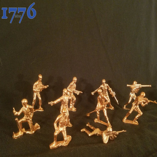 999 Copper Hand Poured Bullion Classic Army Men Set Of 10 By 1776 Mint Copper Army Men