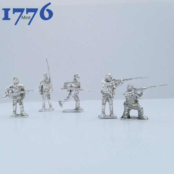 Civil War Soldiers Set Of 5 .999 Silver Hand Poured Bullion Silver Army Men