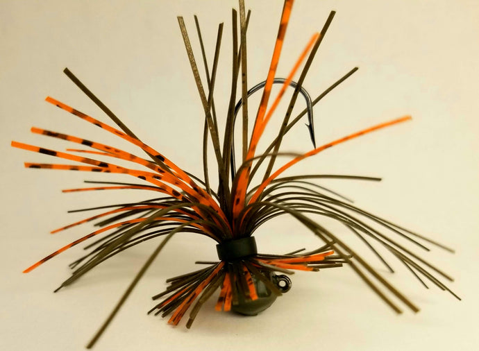 Green Pumpkin / Orange Crush Finesse Jig 1/4 oz. Standard 90 Hook Size 3/0