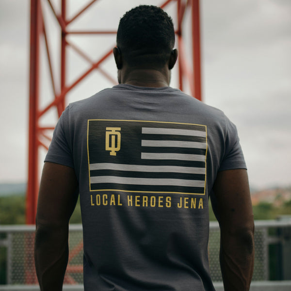 """Local Heroes Tee"" in Dark Grey"
