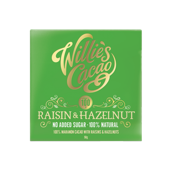 Willies Cacao No Added Sugar Raisin & Hazelnut Chocolate (50g)