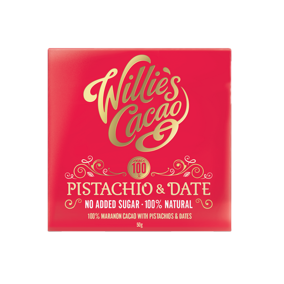 Willies Cacao No Added Sugar Pistachio & Date Chocolate (50g)