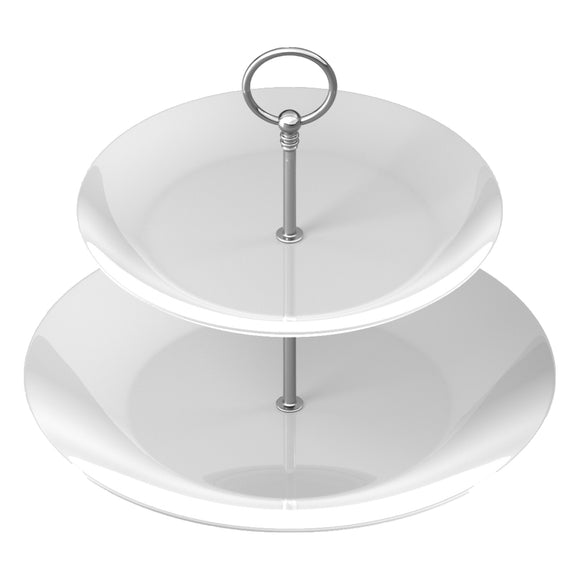 Plain White Fine China Two Tier Cake Stand