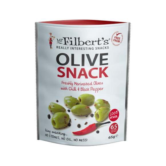 Mr Filbert's Green Olives with Chilli & Black Pepper (65g)