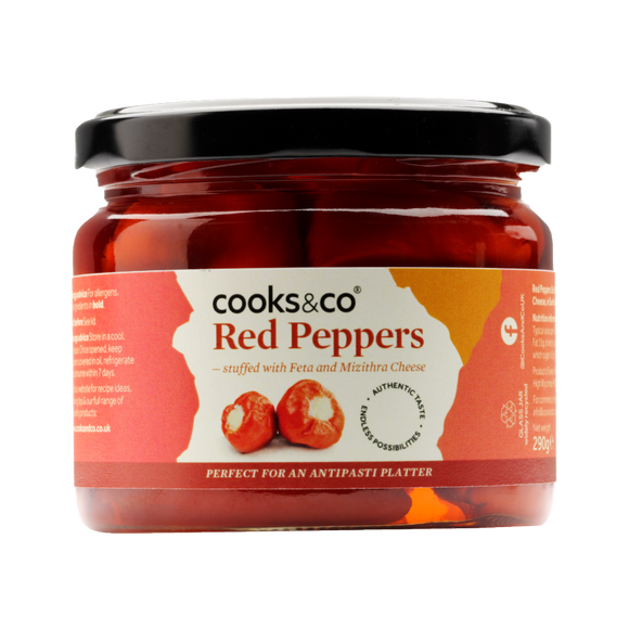 Cooks & Co Red Peppers stuffed with Feta Cheese (290g)