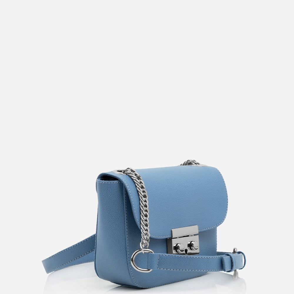 cross body leather blue bag