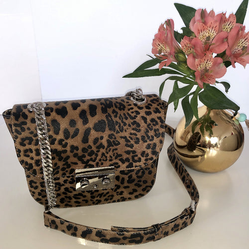 cross body bag with leo print