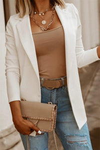Solid Blazer - White - Shades of Beautii Collection