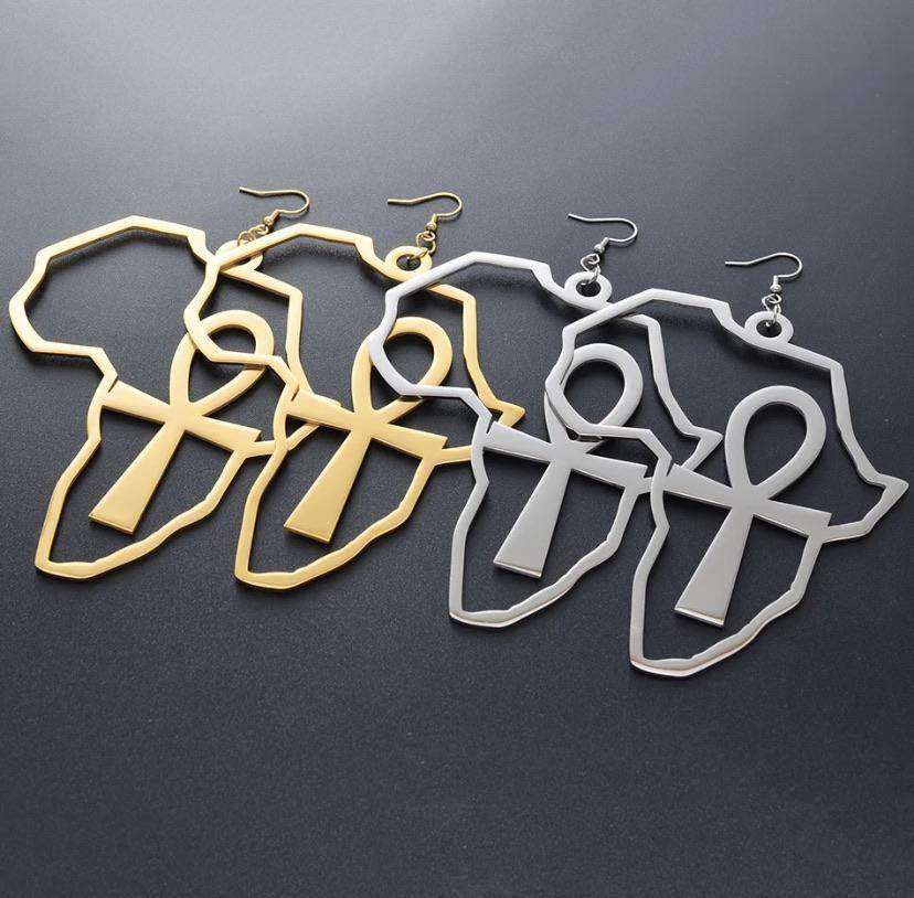 African Ankh Key Earrings - Shades of Beautii Collection