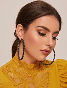 Bling Hoop Earrings - Black