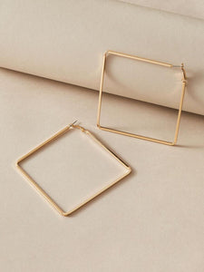 Large Gold Square Earrings