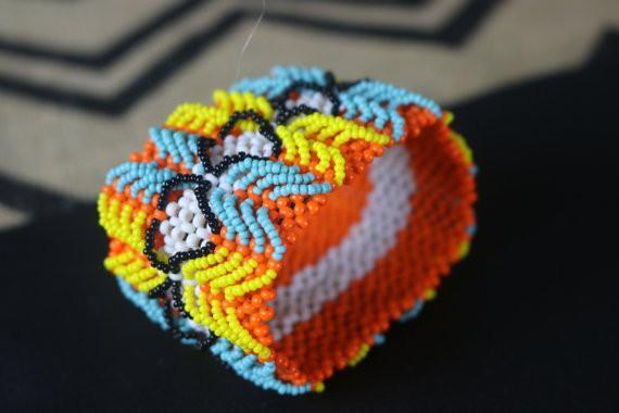 Art# K50 3.5 inch Original Kayapo Traditional Peyote stitch Beaded Bracelet from Brazil.