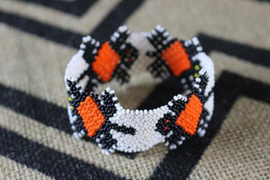 Art# K407 3+ inch. Original Kayapo Traditional Peyote stitch Beaded Bracelet from Brazil