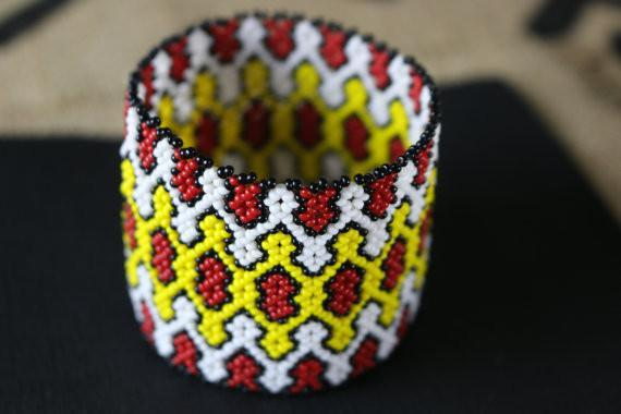 Art# K229 3 inch. Original Kayapo Traditional Peyote stitch Beaded Bracelet from Brazil.