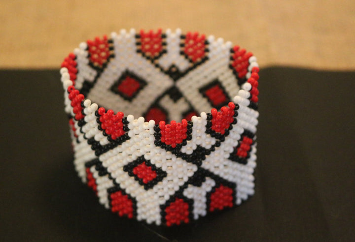 Art# K3  3.5 inch Original Kayapo Traditional Peyote stitch Beaded Bracelet from Brazil.