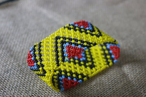 Art# K23 4 inch  Original Kayapo Traditional Peyote stitch Beaded Bracelet from Brazil.