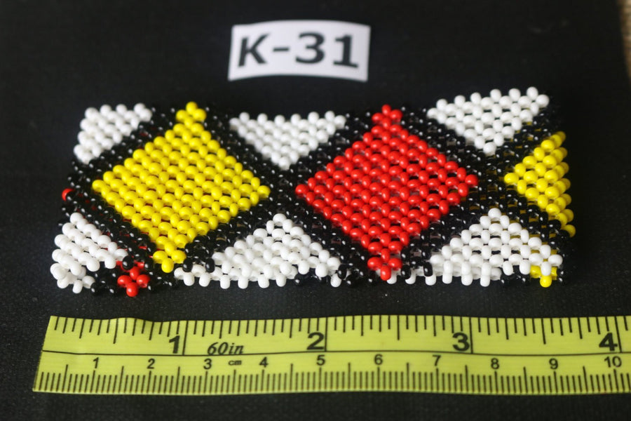 Art# K31  3.5+ inch Original Kayapo Traditional Peyote stitch Beaded Bracelet from Brazil.