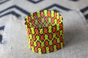 Art# K33  3.5 inch Original Kayapo Traditional Peyote stitch Beaded Bracelet from Brazil.