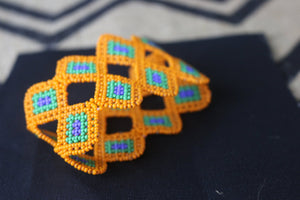 Art# K57 3+ inch Original Kayapo Traditional Peyote stitch Beaded Bracelet from Brazil.
