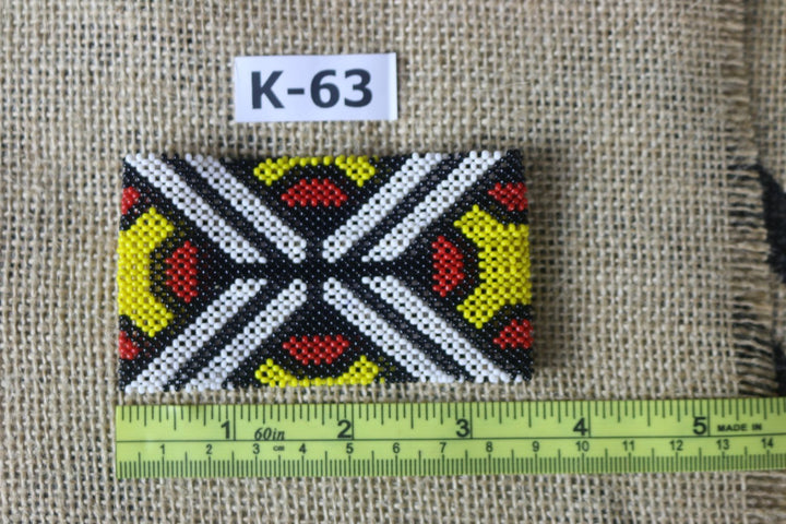 Art# K63 3.5 inch Original Kayapo Traditional Peyote stitch Beaded Bracelet from Brazil.