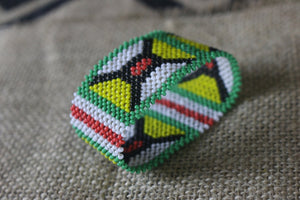 Art# K82 2.5+ inch Original Kayapo Traditional Peyote stitch Beaded Bracelet from Brazil.