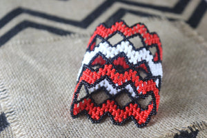 Art# K83 3 inch Original Kayapo Traditional Peyote stitch Beaded Bracelet from Brazil.