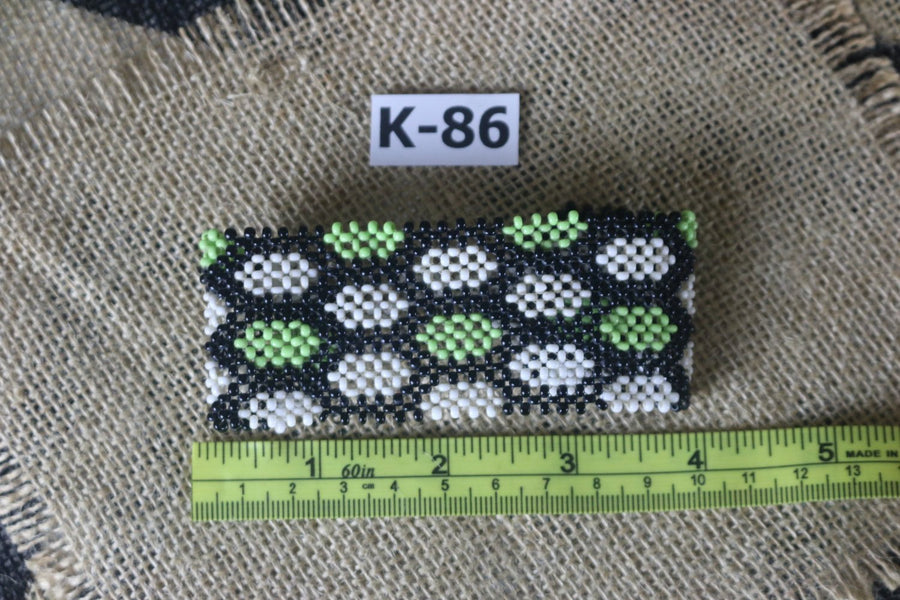Art# K86   inch 3.5 + Original Kayapo Traditional Peyote stitch Beaded Bracelet from Brazil.