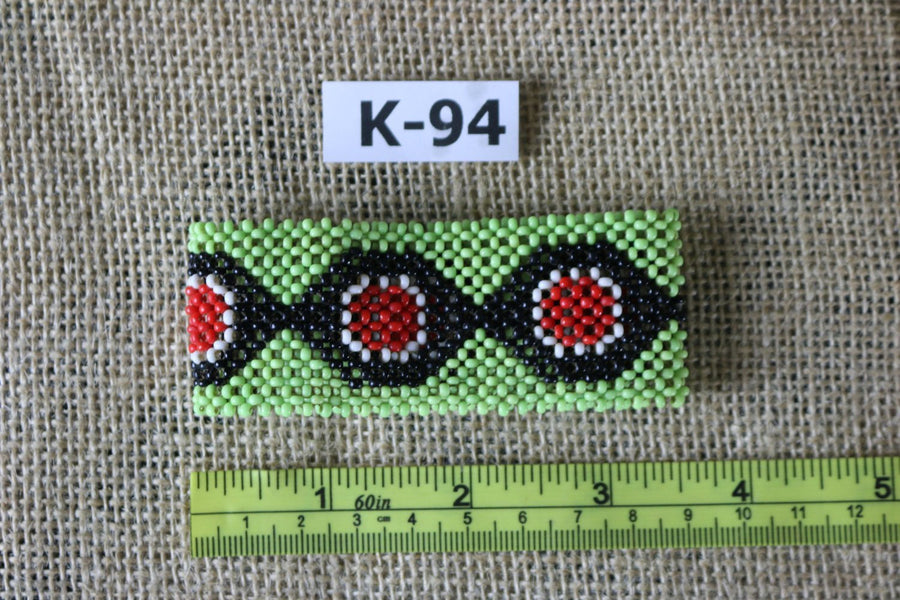Art# K94  3.5 inch Original Kayapo Traditional Peyote stitch Beaded Bracelet from Brazil.