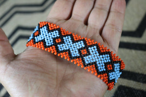 Art# K124  4+ inch Original Kayapo Traditional Peyote stitch Beaded Bracelet from Brazil.