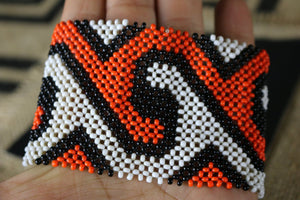Art# K129 4 inch.  Original Kayapo Traditional Peyote stitch Beaded Bracelet from Brazil.