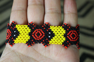 Art# K132  3.5+  inch Original Kayapo Traditional Peyote stitch Beaded Bracelet from Brazil.
