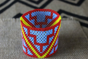 Art# K144 3.5+ inch  Original Kayapo Traditional Peyote stitch Beaded Bracelet from Brazil.