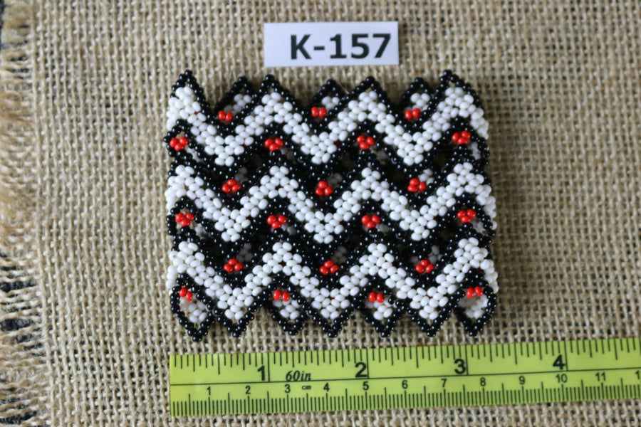 Art# K157  3+ inch Original Kayapo Traditional Peyote stitch Beaded Bracelet from Brazil.