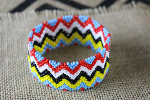 Art# K165  4 inch Original Kayapo Traditional Peyote stitch Beaded Bracelet from Brazil.