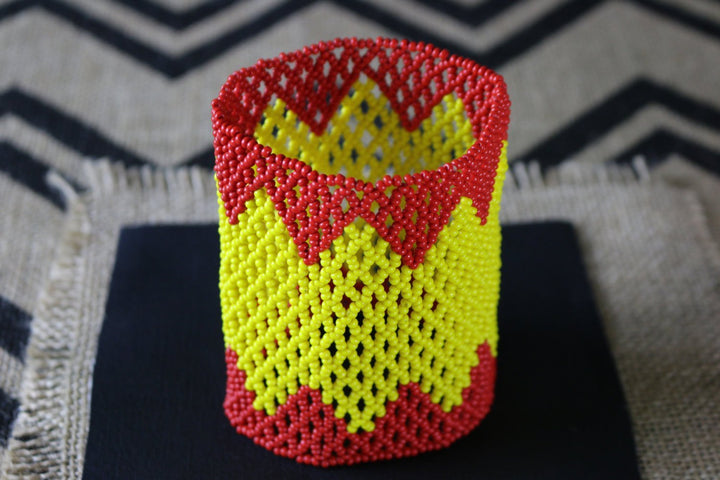 Art# K174 3.5+ inch  Original Kayapo Traditional Peyote stitch Beaded Bracelet from Brazil.
