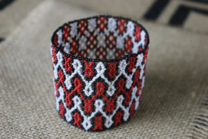 Art# K179  3+ inch. Original Kayapo Traditional Peyote stitch Beaded Bracelet from Brazil.