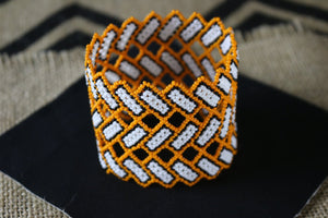 Art# K181  3.5 inch. Original Kayapo Traditional Peyote stitch Beaded Bracelet from Brazil.