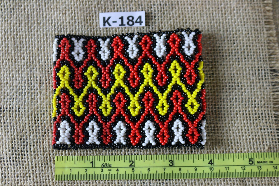 Art# K184  3.5+ inch. Original Kayapo Traditional Peyote stitch Beaded Bracelet from Brazil.