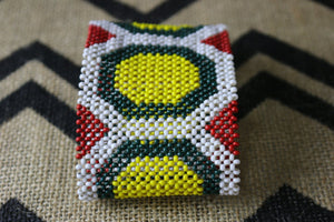 Art# K187  4 inch. Original Kayapo Traditional Peyote stitch Beaded Bracelet from Brazil.
