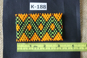 Art# K188  3+inch. Original Kayapo Traditional Peyote stitch Beaded Bracelet from Brazil.