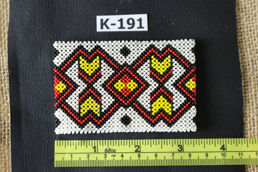 Art# K191  3+inch. Original Kayapo Traditional Peyote stitch Beaded Bracelet from Brazil.