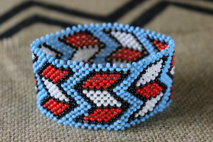 Art# K197  3.5+ inch. Original Kayapo Traditional Peyote stitch Beaded Bracelet from Brazil.