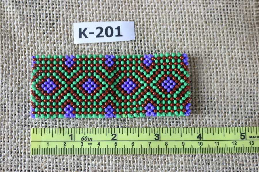 Art# K201  3.5+inch. Original Kayapo Traditional Peyote stitch Beaded Bracelet from Brazil.