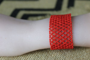 Art# K207  3+ inch. Original Kayapo Traditional Peyote stitch Beaded Bracelet from Brazil.